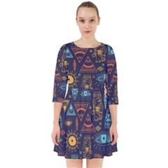 Trendy African Maya Seamless Pattern With Doodle Hand Drawn Ancient Objects Smock Dress