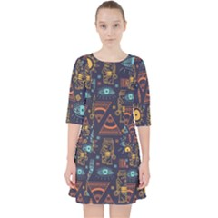 Trendy African Maya Seamless Pattern With Doodle Hand Drawn Ancient Objects Pocket Dress