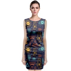 Trendy African Maya Seamless Pattern With Doodle Hand Drawn Ancient Objects Sleeveless Velvet Midi Dress