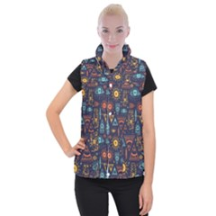 Trendy African Maya Seamless Pattern With Doodle Hand Drawn Ancient Objects Women s Button Up Vest