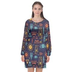 Trendy African Maya Seamless Pattern With Doodle Hand Drawn Ancient Objects Long Sleeve Chiffon Shift Dress