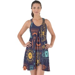 Trendy African Maya Seamless Pattern With Doodle Hand Drawn Ancient Objects Show Some Back Chiffon Dress