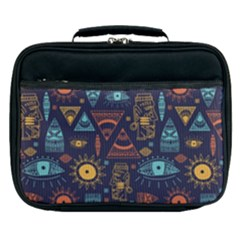 Trendy African Maya Seamless Pattern With Doodle Hand Drawn Ancient Objects Lunch Bag