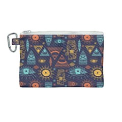 Trendy African Maya Seamless Pattern With Doodle Hand Drawn Ancient Objects Canvas Cosmetic Bag (medium)