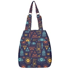 Trendy African Maya Seamless Pattern With Doodle Hand Drawn Ancient Objects Center Zip Backpack