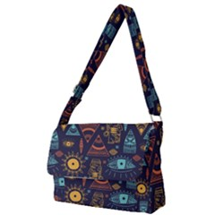 Trendy African Maya Seamless Pattern With Doodle Hand Drawn Ancient Objects Full Print Messenger Bag (s)