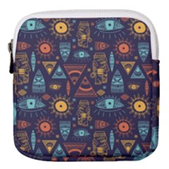 Trendy African Maya Seamless Pattern With Doodle Hand Drawn Ancient Objects Mini Square Pouch