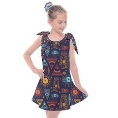 Trendy African Maya Seamless Pattern With Doodle Hand Drawn Ancient Objects Kids  Tie Up Tunic Dress