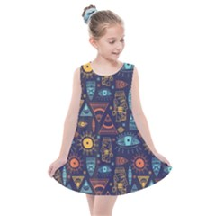 Trendy African Maya Seamless Pattern With Doodle Hand Drawn Ancient Objects Kids  Summer Dress