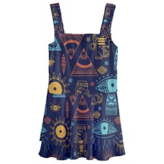 Trendy African Maya Seamless Pattern With Doodle Hand Drawn Ancient Objects Kids  Layered Skirt Swimsuit