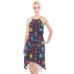 Trendy African Maya Seamless Pattern With Doodle Hand Drawn Ancient Objects High Low Halter Chiffon Dress