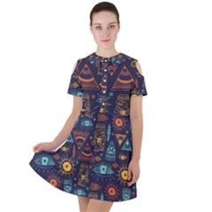 Trendy African Maya Seamless Pattern With Doodle Hand Drawn Ancient Objects Short Sleeve Shoulder Cut Out Dress