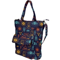 Trendy African Maya Seamless Pattern With Doodle Hand Drawn Ancient Objects Shoulder Tote Bag