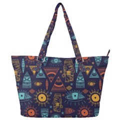 Trendy African Maya Seamless Pattern With Doodle Hand Drawn Ancient Objects Full Print Shoulder Bag