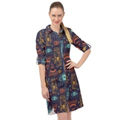 Trendy African Maya Seamless Pattern With Doodle Hand Drawn Ancient Objects Long Sleeve Mini Shirt Dress