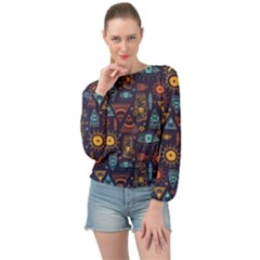 Trendy African Maya Seamless Pattern With Doodle Hand Drawn Ancient Objects Banded Bottom Chiffon Top
