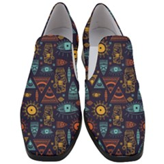 Trendy African Maya Seamless Pattern With Doodle Hand Drawn Ancient Objects Women Slip On Heel Loafers