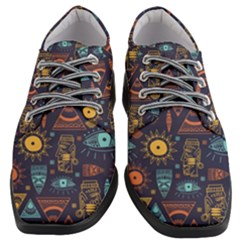 Trendy African Maya Seamless Pattern With Doodle Hand Drawn Ancient Objects Women Heeled Oxford Shoes