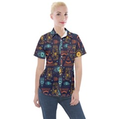 Trendy African Maya Seamless Pattern With Doodle Hand Drawn Ancient Objects Women s Short Sleeve Pocket Shirt