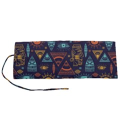 Trendy African Maya Seamless Pattern With Doodle Hand Drawn Ancient Objects Roll Up Canvas Pencil Holder (s)