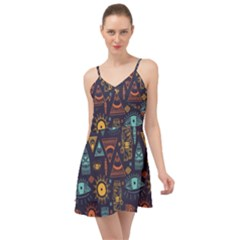 Trendy African Maya Seamless Pattern With Doodle Hand Drawn Ancient Objects Summer Time Chiffon Dress
