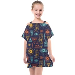 Trendy African Maya Seamless Pattern With Doodle Hand Drawn Ancient Objects Kids  One Piece Chiffon Dress