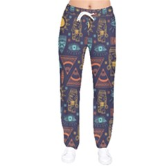 Trendy African Maya Seamless Pattern With Doodle Hand Drawn Ancient Objects Women Velvet Drawstring Pants