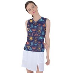 Trendy African Maya Seamless Pattern With Doodle Hand Drawn Ancient Objects Women s Sleeveless Sports Top