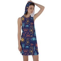 Trendy African Maya Seamless Pattern With Doodle Hand Drawn Ancient Objects Racer Back Hoodie Dress