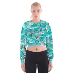 Sea Waves Seamless Pattern Cropped Sweatshirt by Wegoenart