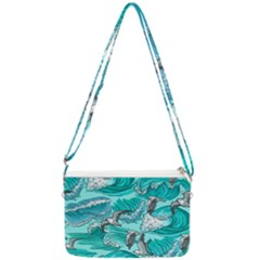 Sea Waves Seamless Pattern Double Gusset Crossbody Bag