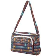 Bohemian Ethnic Seamless Pattern With Tribal Stripes Front Pocket Crossbody Bag by Wegoenart