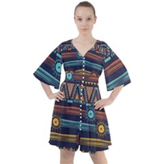 Bohemian Ethnic Seamless Pattern With Tribal Stripes Boho Button Up Dress