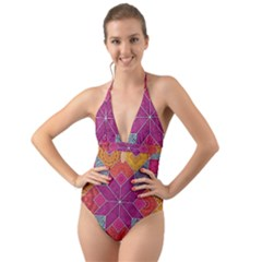 Ethnic Floral Mosaic Pattern Halter Cut-out One Piece Swimsuit by Wegoenart