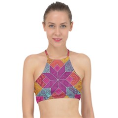 Ethnic Floral Mosaic Pattern Racer Front Bikini Top