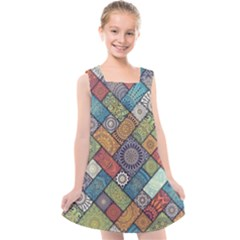 Diagonal Floral Tiles Pattern Kids  Cross Back Dress