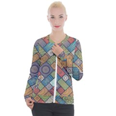 Diagonal Floral Tiles Pattern Casual Zip Up Jacket