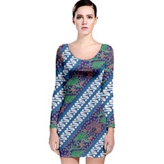 Indonesian Combination Batik With Dominant Blue Color Long Sleeve Velvet Bodycon Dress