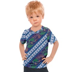 Indonesian Combination Batik With Dominant Blue Color Kids  Sports Tee