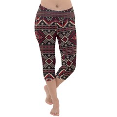 Ukrainian Folk Seamless Pattern Ornament Lightweight Velour Capri Yoga Leggings