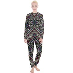 Zentangle Style Geometric Ornament Pattern Women s Lounge Set
