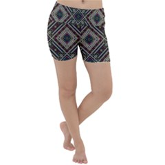 Zentangle Style Geometric Ornament Pattern Lightweight Velour Yoga Shorts