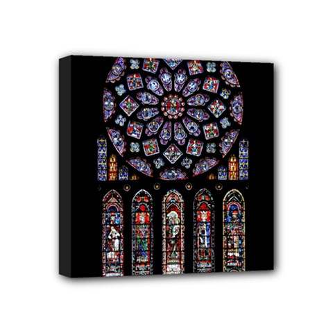 Chartres Cathedral Notre Dame De Paris Amiens Cath Stained Glass Mini Canvas 4  X 4  (stretched) by Wegoenart