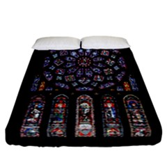 Chartres Cathedral Notre Dame De Paris Amiens Cath Stained Glass Fitted Sheet (california King Size) by Wegoenart
