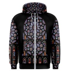 Chartres Cathedral Notre Dame De Paris Amiens Cath Stained Glass Men s Zipper Hoodie