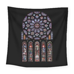 Chartres Cathedral Notre Dame De Paris Amiens Cath Stained Glass Square Tapestry (large) by Wegoenart
