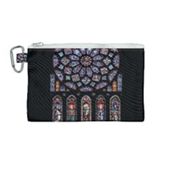 Chartres Cathedral Notre Dame De Paris Amiens Cath Stained Glass Canvas Cosmetic Bag (medium)