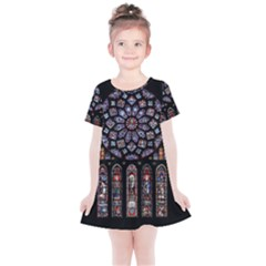 Chartres Cathedral Notre Dame De Paris Amiens Cath Stained Glass Kids  Simple Cotton Dress by Wegoenart