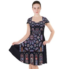 Chartres Cathedral Notre Dame De Paris Amiens Cath Stained Glass Cap Sleeve Midi Dress