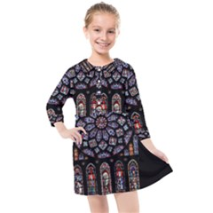 Chartres Cathedral Notre Dame De Paris Amiens Cath Stained Glass Kids  Quarter Sleeve Shirt Dress